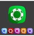 Casino chip icon flat web sign symbol logo label vector image vector image