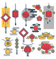 chinese new year decorations icons lantern vector image