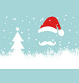 christmas card santa claus and snowfall and white vector image vector image