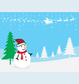 christmas greeting card snowman with santa claus vector image vector image
