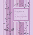 decorative pink vintage striped vegetal greeting vector image vector image