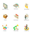endeavor icons set isometric style vector image vector image