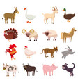 farm animals cute set in cartoon style isolated on vector image vector image