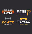fitness gym logo signs collection vector image vector image