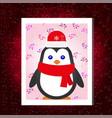 flat christmas penguin card vector image