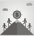 four businessman is climbing to get the coin vector image