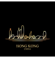 gold silhouette hong kong on black background vector image