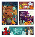 halloween ghosts witch pumpkins and candies vector image vector image