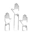 hands up isolated icon vector image vector image