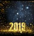 happy new year banner with gold 2019 numbers vector image vector image
