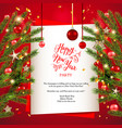hristmas tree decor invitation card vector image vector image
