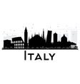 Italy skyline black and white silhouette vector image vector image
