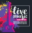 live music poster with multicolor acoustic guitars vector image vector image