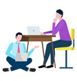 man and woman working with laptop broker vector image vector image