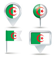 Map pins with flag of Algeria vector image vector image