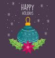 merry christmas celebration green ball flower vector image vector image