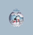 merry christmas with snow man in village vector image vector image
