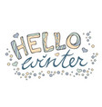 Modern funny lettering hello winter hand color
