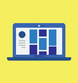 modern laptop with user interface and yellow vector image vector image