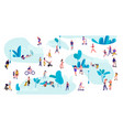 people in park trendy crowd walking men and vector image vector image