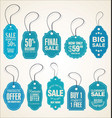 price tags retro vintage blue collection vector image vector image