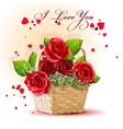 red roses in a basket vector image vector image