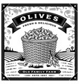 retro olive harvest label with landscape black vector image vector image