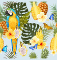 seamless macaw pineapple and flowers vector image vector image