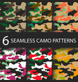set of 6 pack camouflage seamless patterns vector image vector image