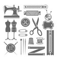 sewing accessories and tailor shop elements vector image vector image