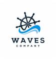 ship steering wheel with waves logo design vector image