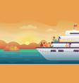 smiling people friends making party on yacht ferry vector image
