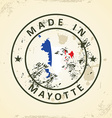 Stamp with map flag of Mayotte vector image vector image