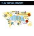 thin line consept wit fkat business icons vector image vector image