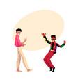 two men guys caucasian and black at retro disco vector image vector image