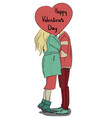 Valentine s day girl and boyfriend kissing on