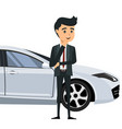 young businessman in front of his car vector image