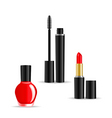 set of woman cosmetics objects isolated on white b vector image
