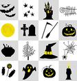 Halloween black and yellow icons set vector image