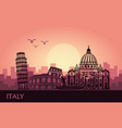 abstract italian cityscape with silhouettes of vector image vector image