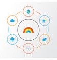 air flat icons set collection of storm bow drop vector image vector image