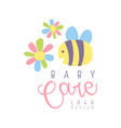 baby care logo label for kids club baby or toys vector image vector image