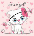 baby shower greeting card with kitten girl vector image vector image