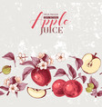 background with hand drawn apple border vector image