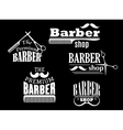 Banners signs and pointers for barber shop vector image