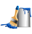 Bucket of paint and brush vector image