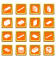 building materials icons set orange square vector image vector image
