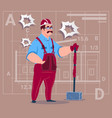 cartoon builder holding big hammer construction vector image