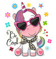 cartoon unicorn with sun glasses on a white vector image vector image