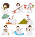 christmas snowman santa cartoon character icons vector image vector image